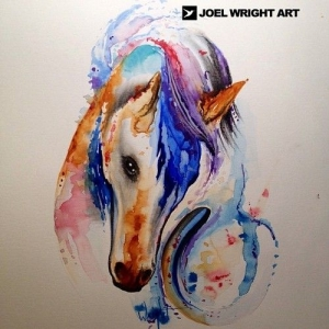 Watercolor unicorn by Joel Wright
