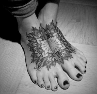 Love these mandala flower feet tattoos