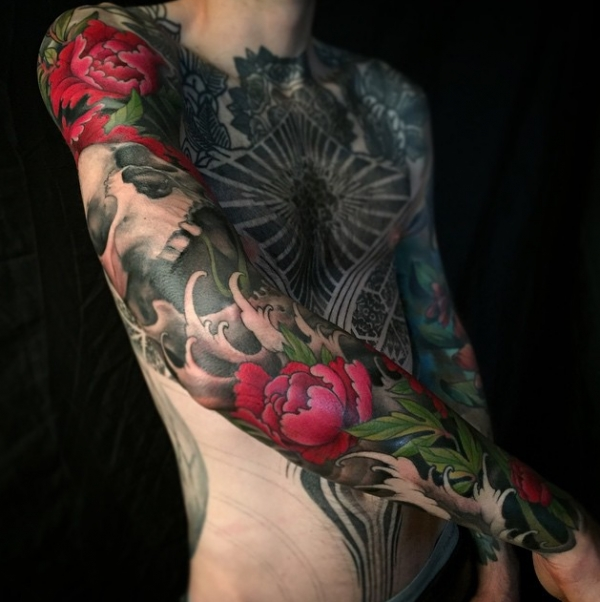 Floral sleeve by Jeff Gogue