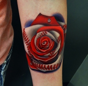 Baseball & rose by Andres Acosta