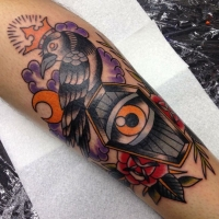 Crow & coffin in traditional style. Jim Ryan.