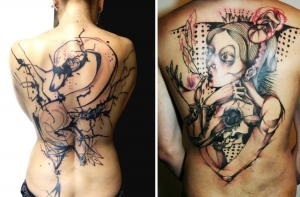 Full back tattoos by Petra Hlavackova