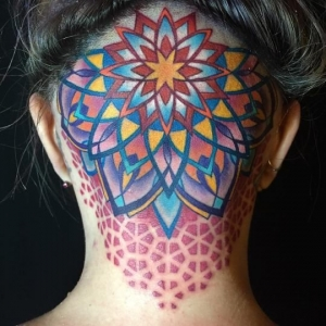 Multicolor scalp mandala by Brian Geckle