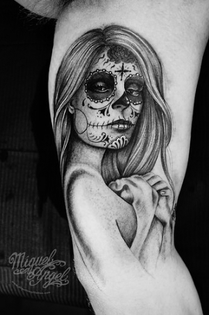 Day of the dead pin up girl by Miguel Angel