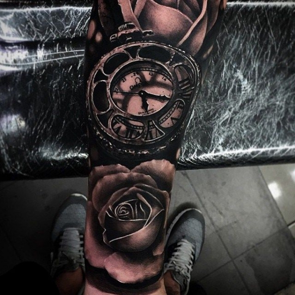 All blackwork rose and clock tattoo