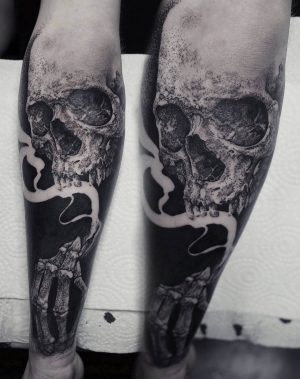 Blackwork and dotwork skull Robert Borbas
