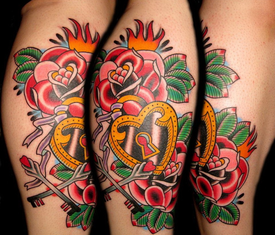 Colorful traditional style roses and heart