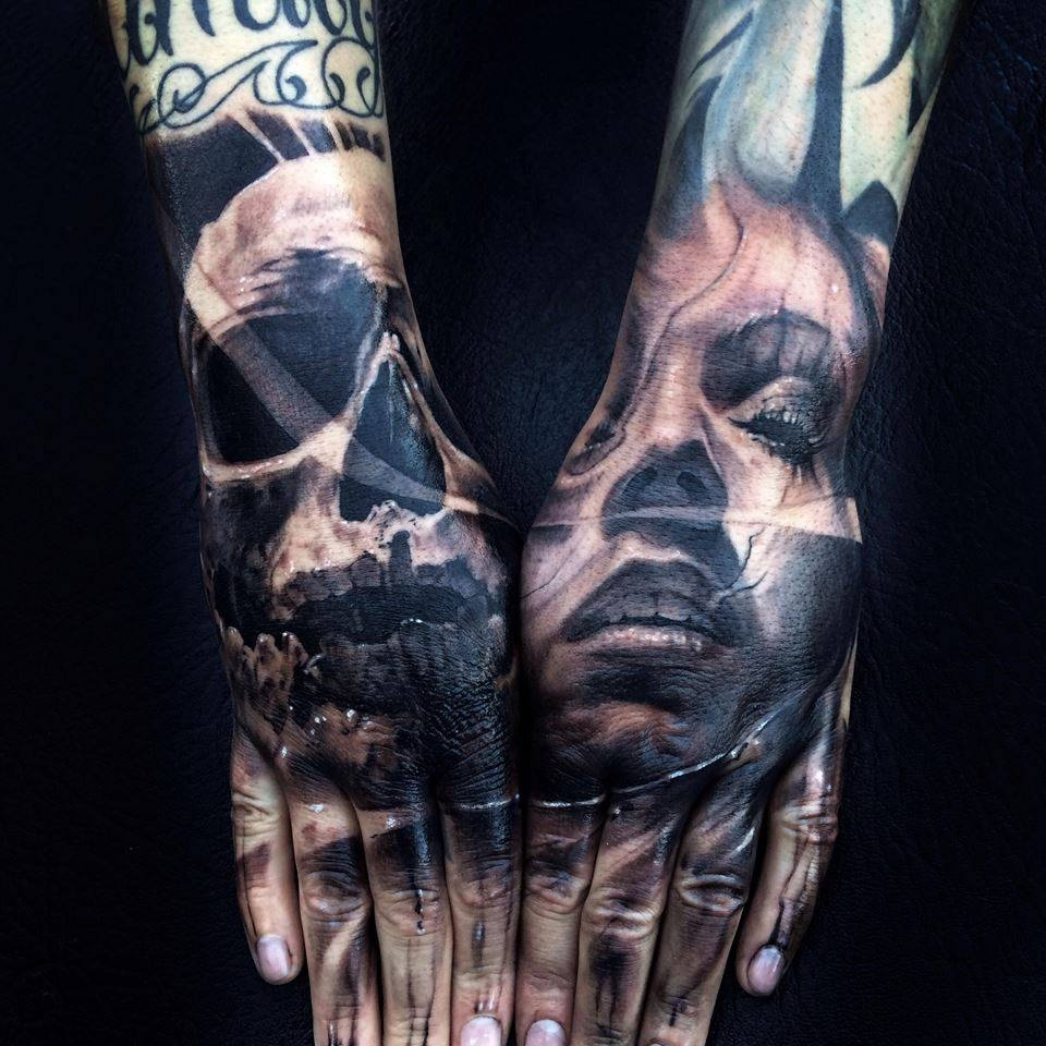 Realistic hand tattoos by Moni Marino