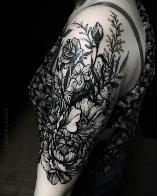 Black dotwork flowers by Dmitriy Tkach