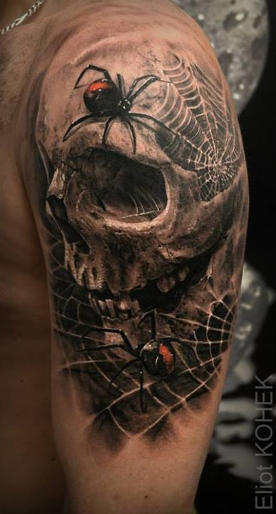Spiderweb skull by Eliot Kohek