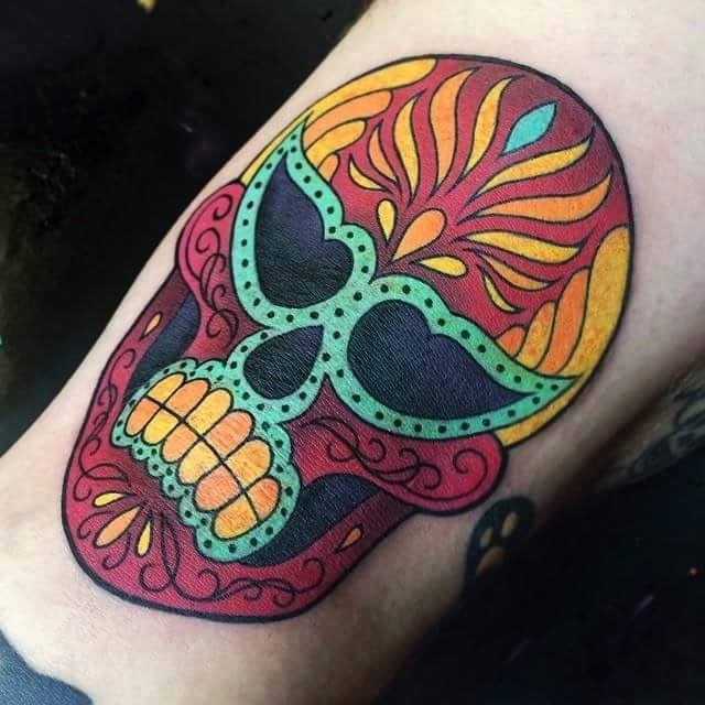 Colorful Sugar Skull by Megan Massacre