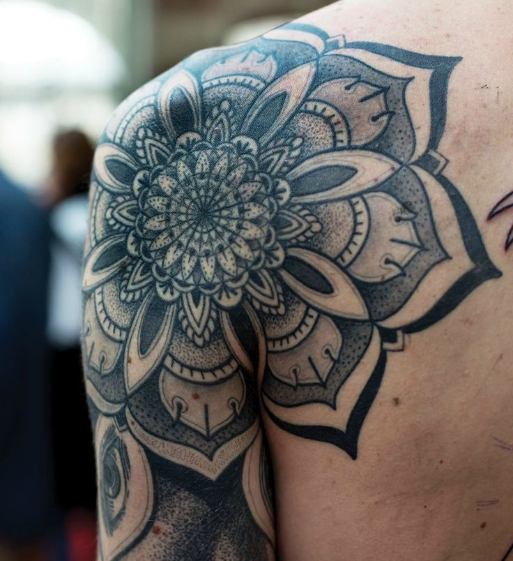 Amazing mandala shoulder tattoo