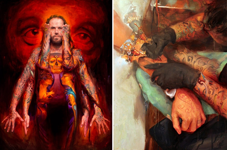 Tattoo oil paintings by Shawn Barber