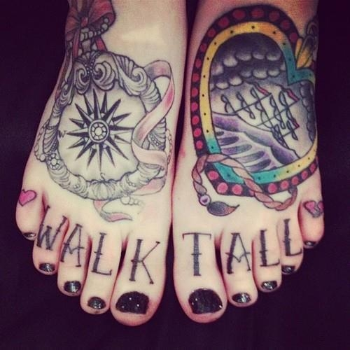 Walk Tall feet tattoo
