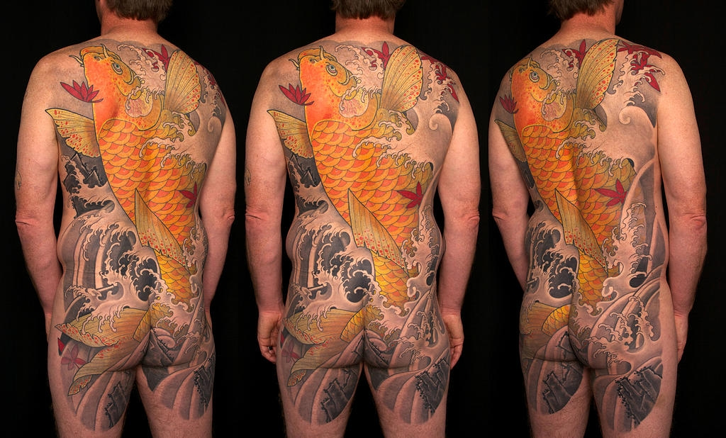Amazing Koi fish full back cover. Andre Malcolm