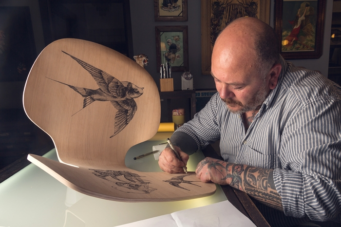 Tattoo designed chairs by Pietro Sedda