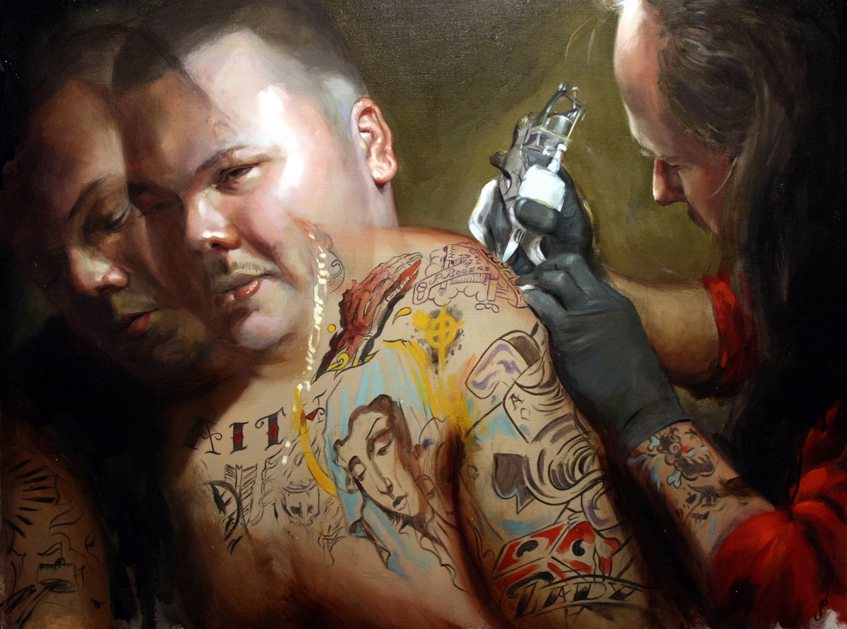 Tattoo artist at work oil by Shawn Barber