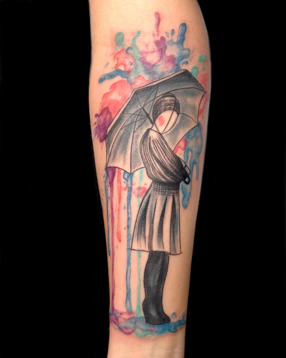 Watercolor pin up girl with umbrella