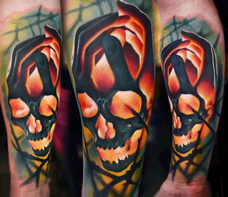 Hands embrazing skull by AD Pancho
