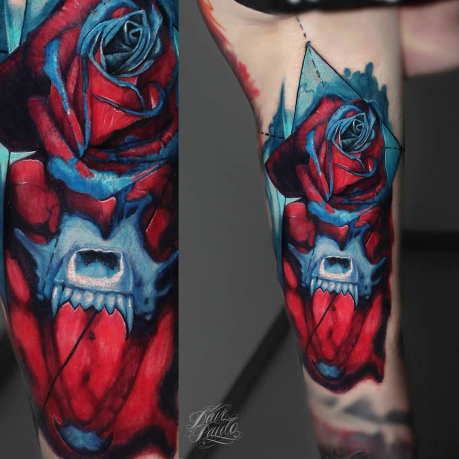 Red and blue roses by Dave Paulo