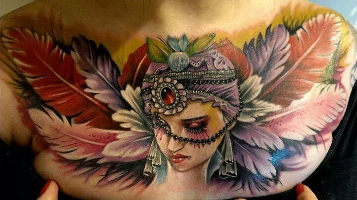 Neo traditional feathers by Fernando Bisceglia