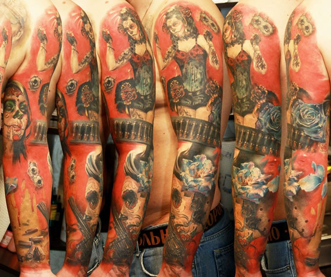 Sick red ink sleeve by Katerina Mikky!